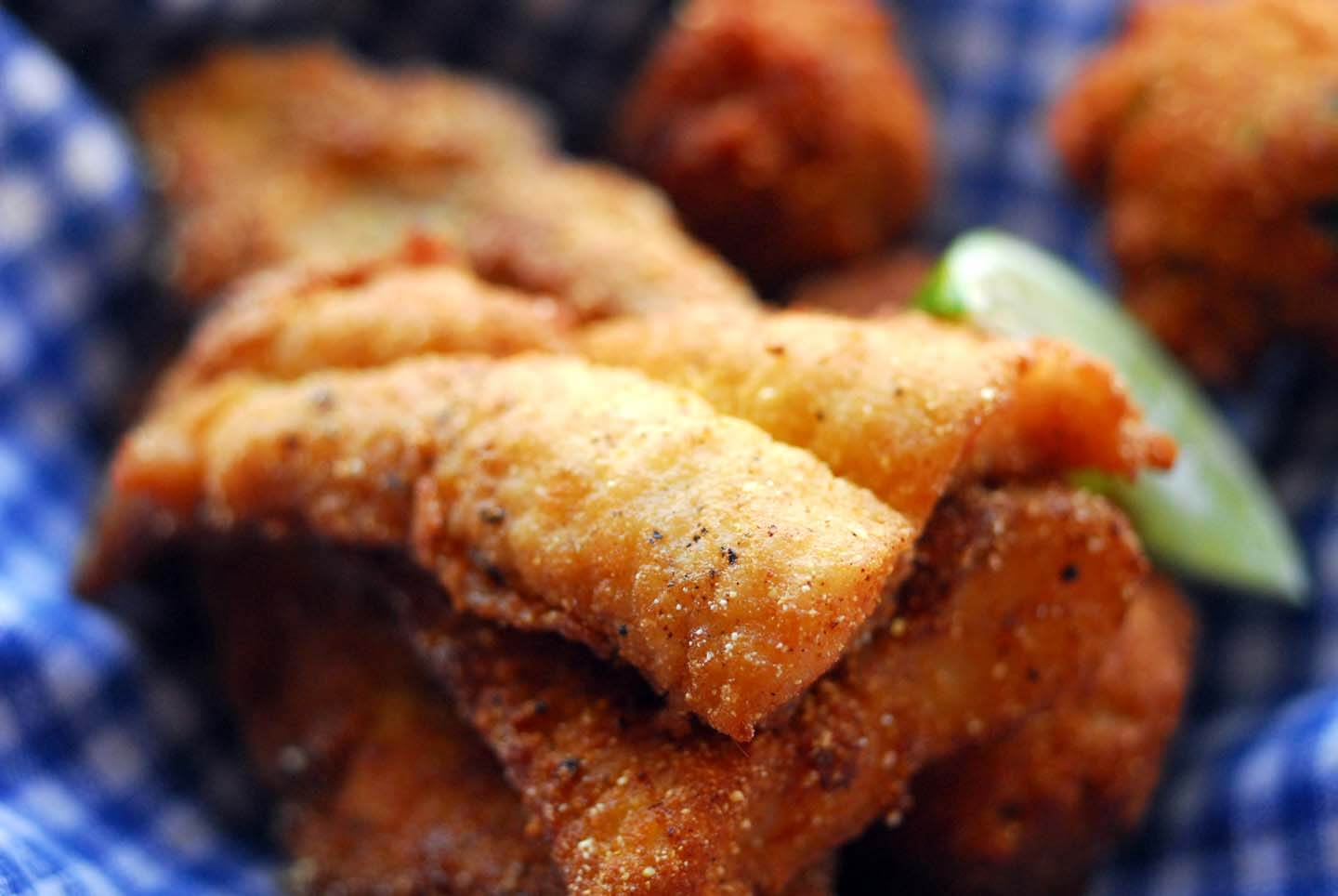 Fried catfish with hushpuppies and chipotle dipping sauce | Homesick Texan