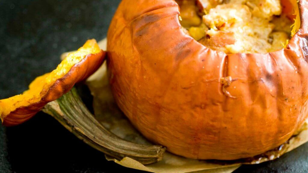 Stuffed pumpkin with cheese, bacon and chipotle chiles | Homesick Texan